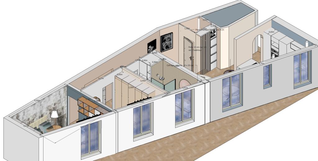 plan 3D agencement appartement 60 m2